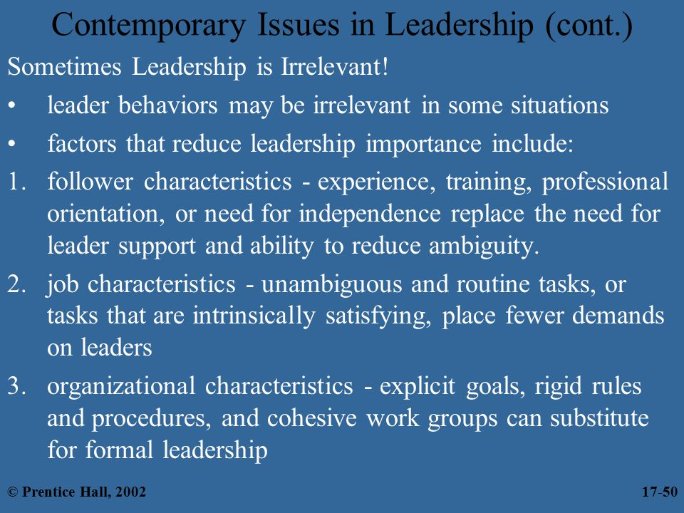 contemporary issues in leadership Leadership—and leadership studies—are in flux in the revised and updated fourth edition of this acclaimed text, contributors speak directly to the central points of change: leadership vs management leadership and followership and especially, the diversity of leadership styles and pathways.