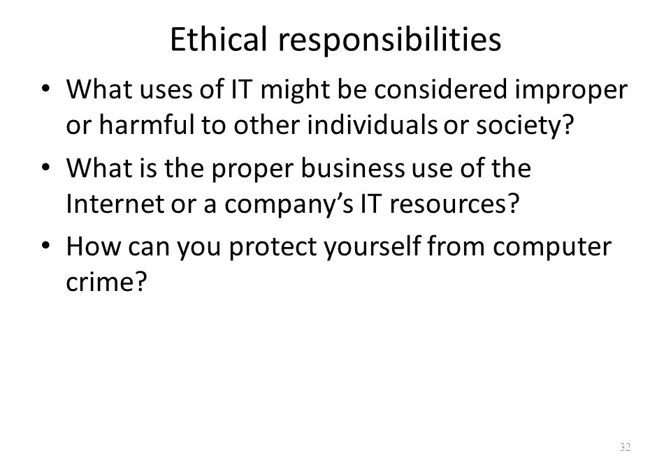 ethical responsibilities in database management Data ownership refers to both the possession of and responsibility for information the cost and benefits of data sharing should be viewed in ethical, institutional, legal and the management of data steneck (2003.