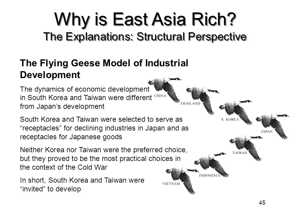 analysis of the flying geese model for japan Using japanese manufacturing data, the empirical analysis shows that the multiple-cone model fits well with the 'flying geese' patterns of japanese industrial development the results imply that industry upgrading may be an important mechanism behind economic growth.