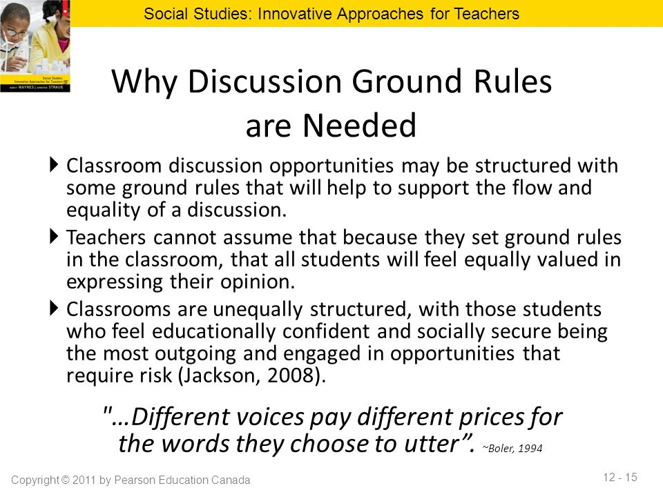 Innovative Classroom Rules ~ Chapter classroom discussion to promote effective