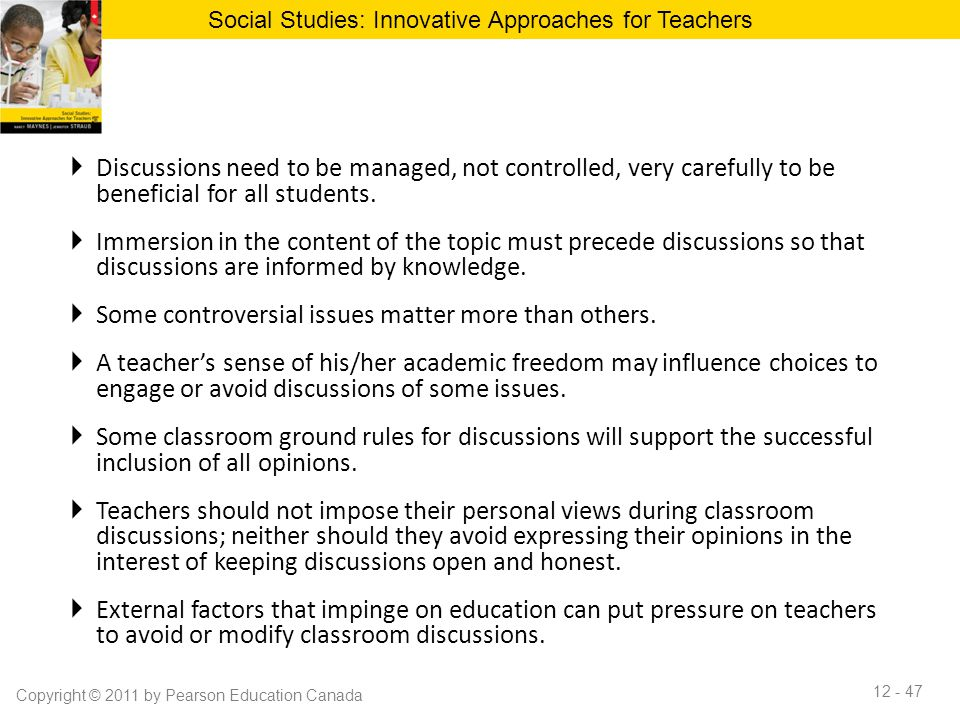 Innovative Classroom Approach ~ Chapter classroom discussion to promote effective