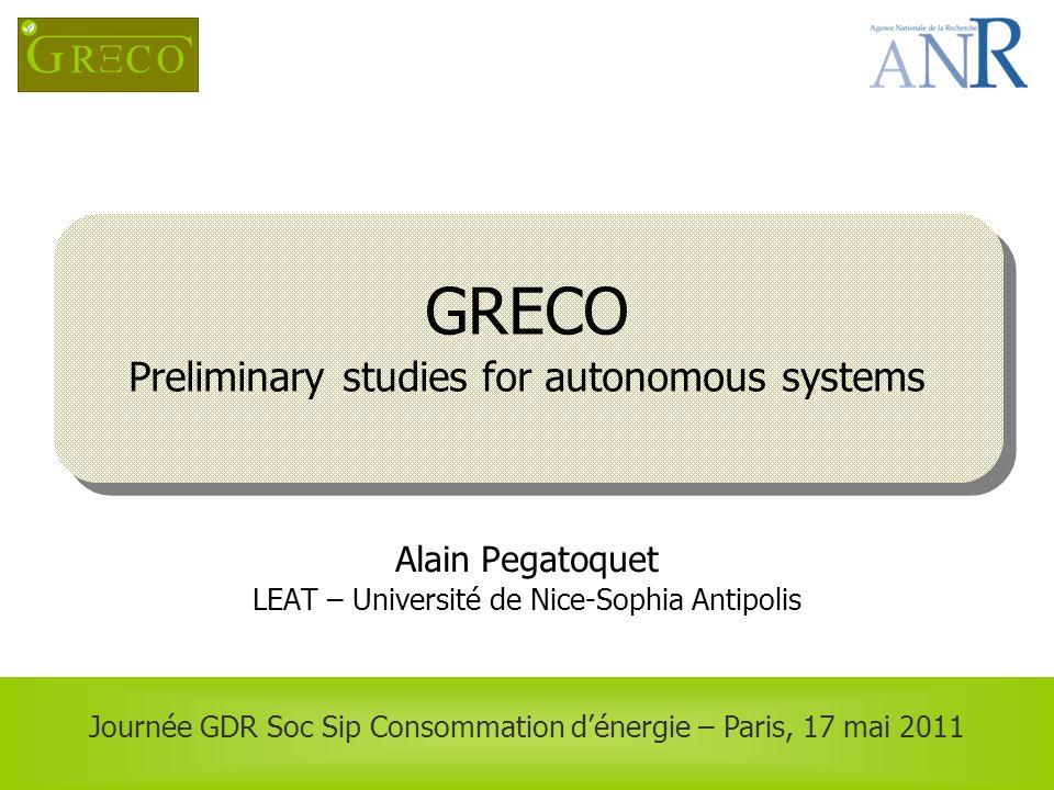 GRECO Preliminary studies for autonomous systems