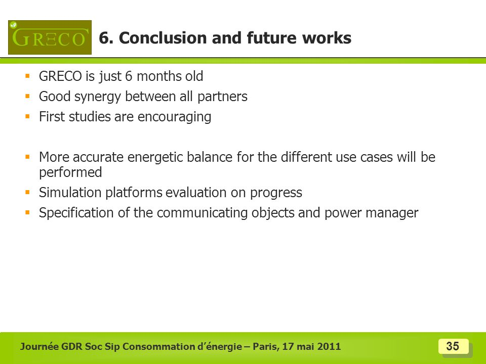 6. Conclusion and future works