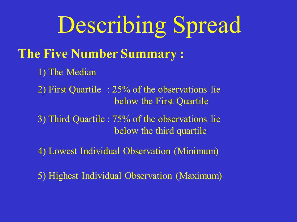 Describing Spread The Five Number Summary : 1) The Median