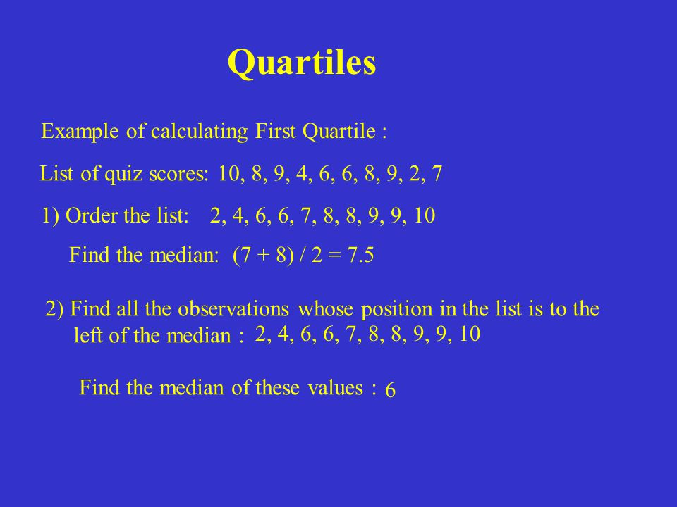 Quartiles Example of calculating First Quartile :