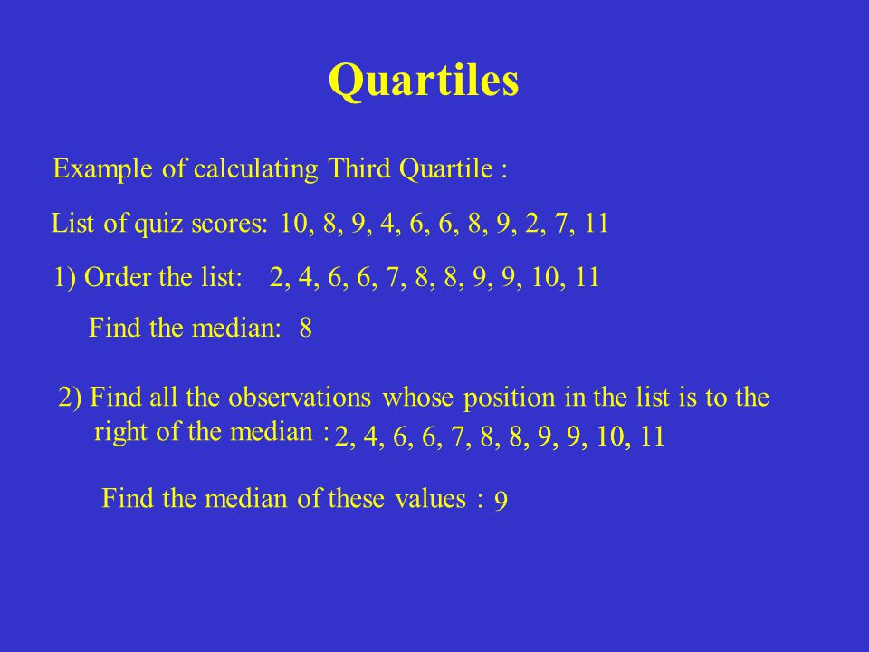 Quartiles Example of calculating Third Quartile :