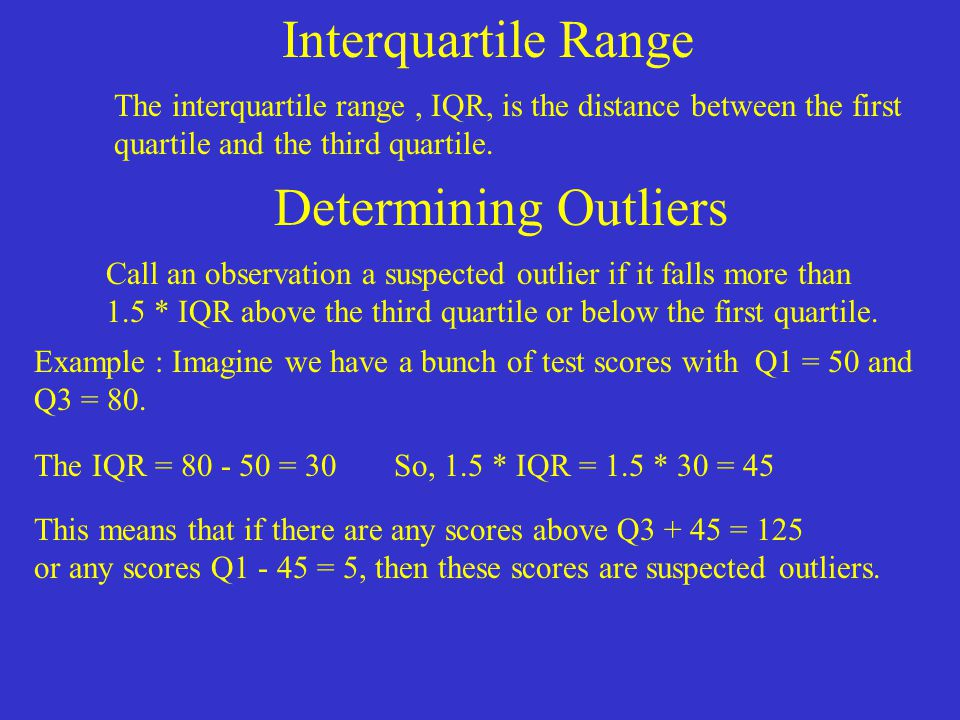 Interquartile Range Determining Outliers