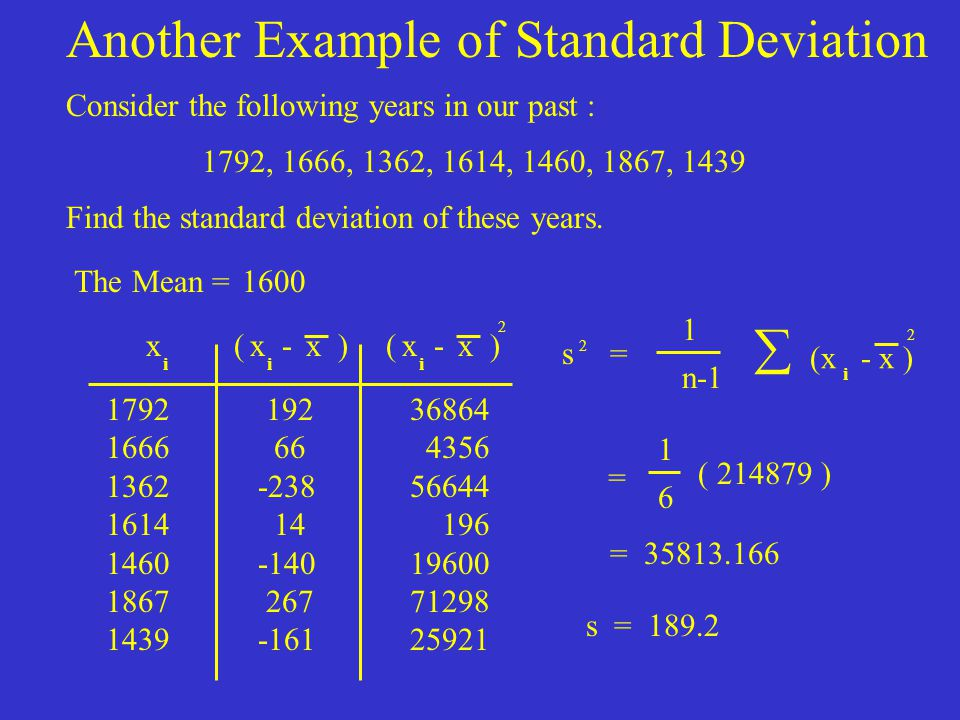 Another Example of Standard Deviation
