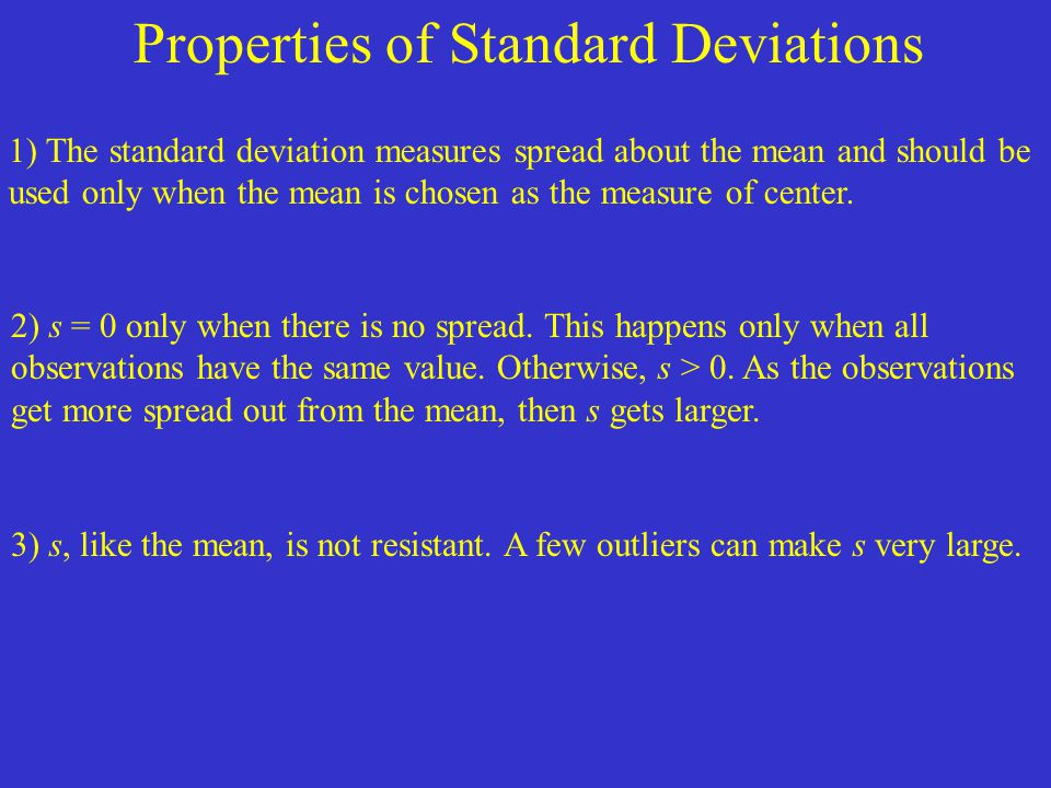 Properties of Standard Deviations