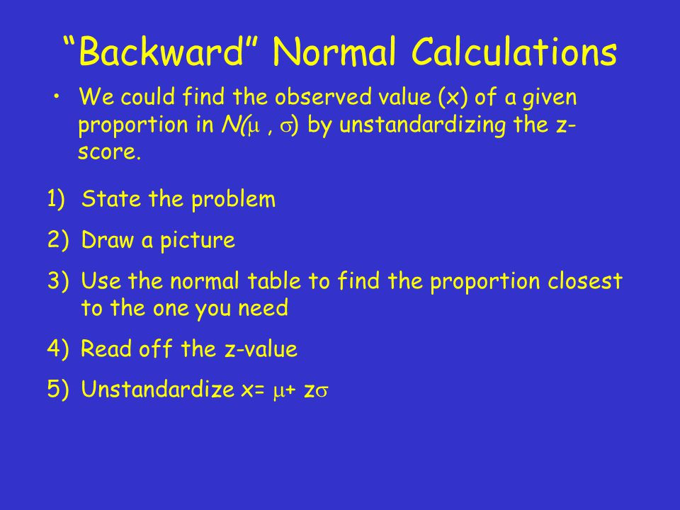 Backward Normal Calculations