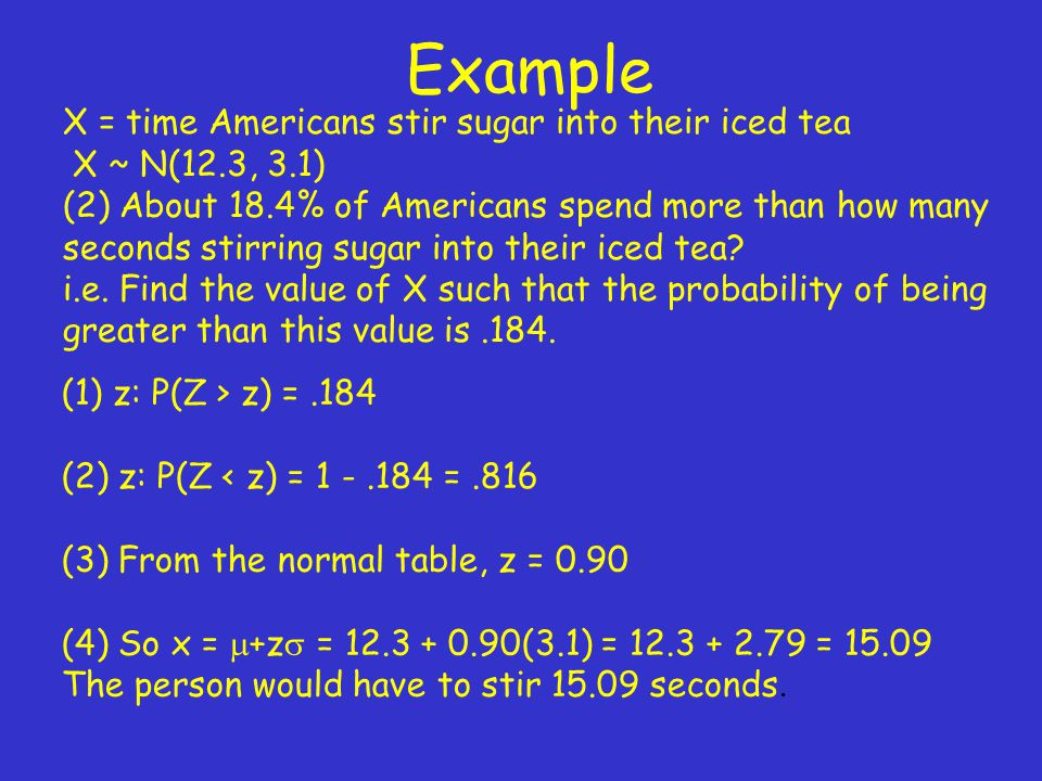 Example X = time Americans stir sugar into their iced tea