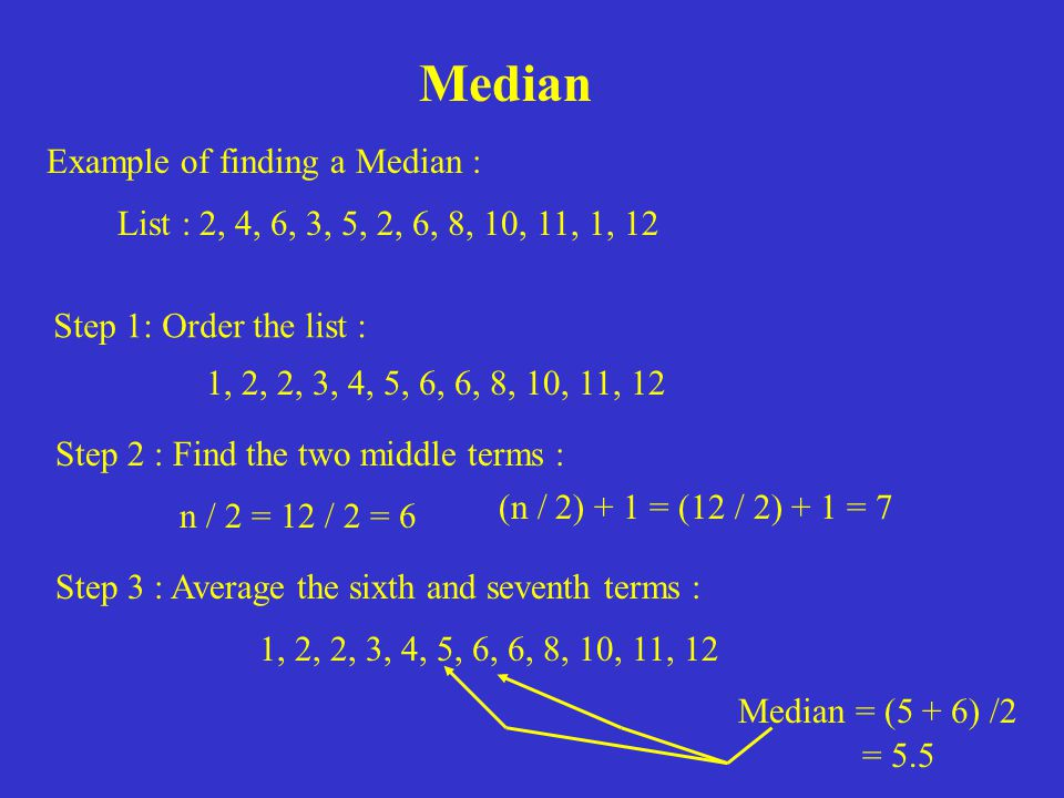 Median Example of finding a Median :