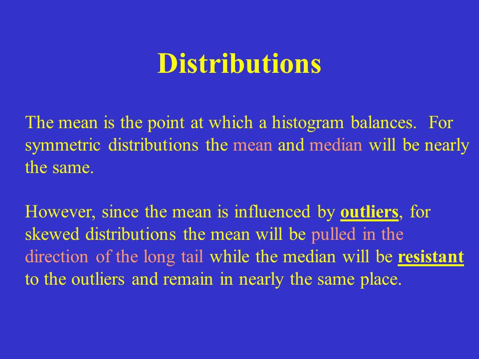 Distributions The mean is the point at which a histogram balances. For