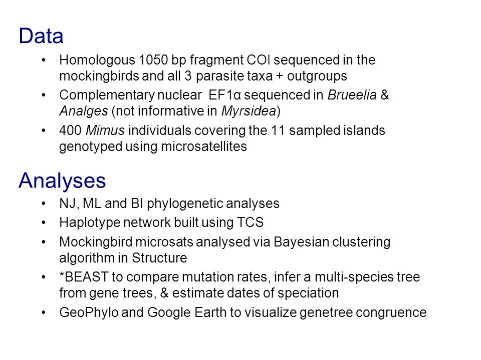 Data Homologous 1050 bp fragment COI sequenced in the mockingbirds and all 3 parasite taxa + outgroups.