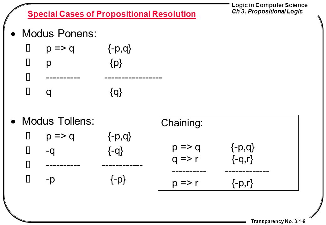 Special Cases of Propositional Resolution