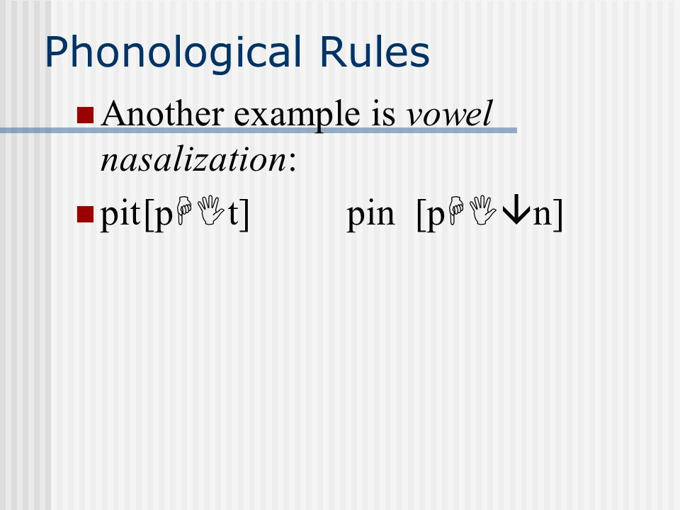phonological rule epenthesis Since epenthesis is a phonological rule, it can be assumed that it occurs in the mapping from segments to features (stemberger, 1985a).