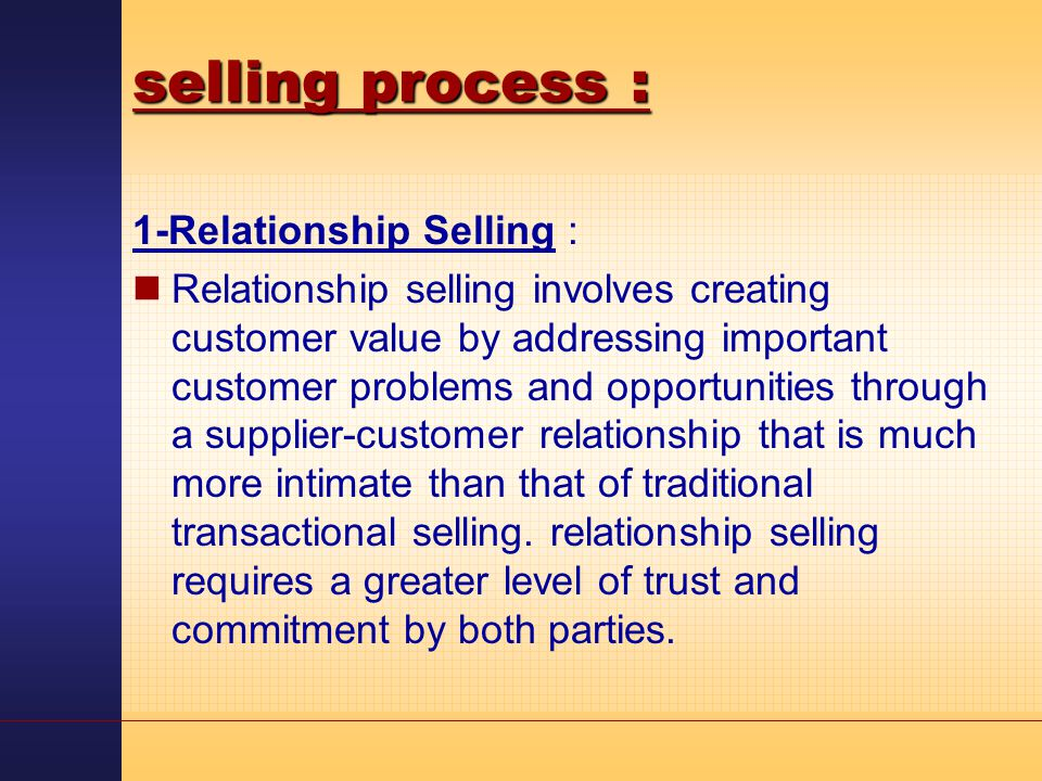 transactional and relationship selling ppt