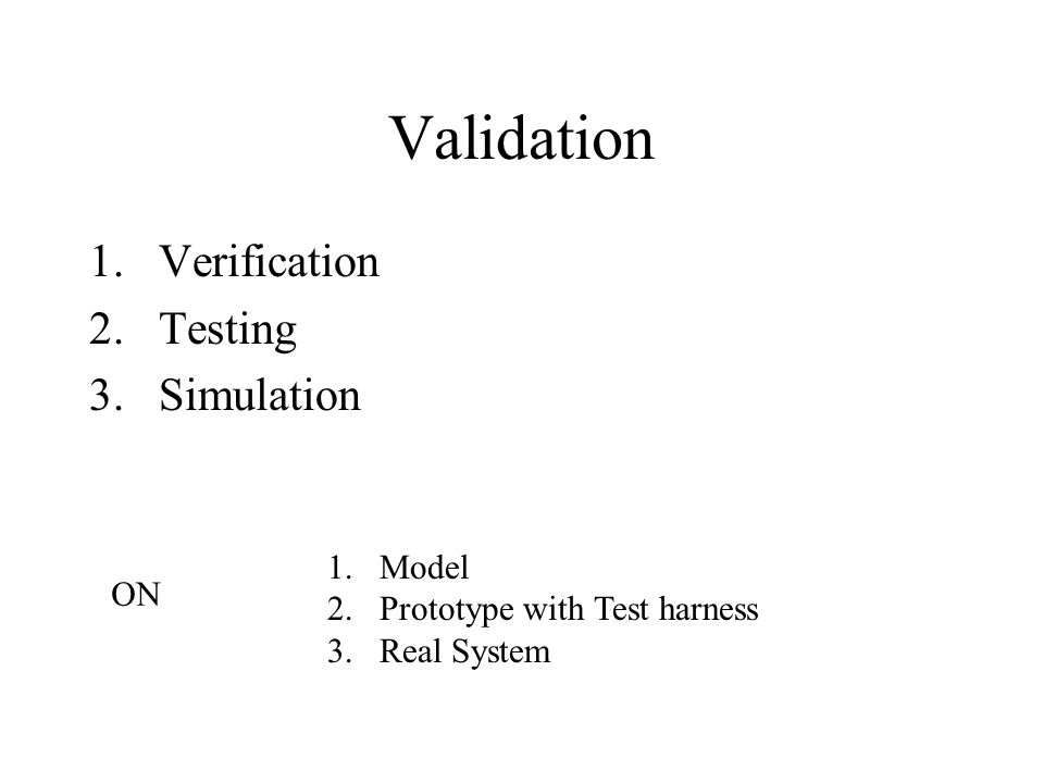 Validation Verification Testing Simulation Model