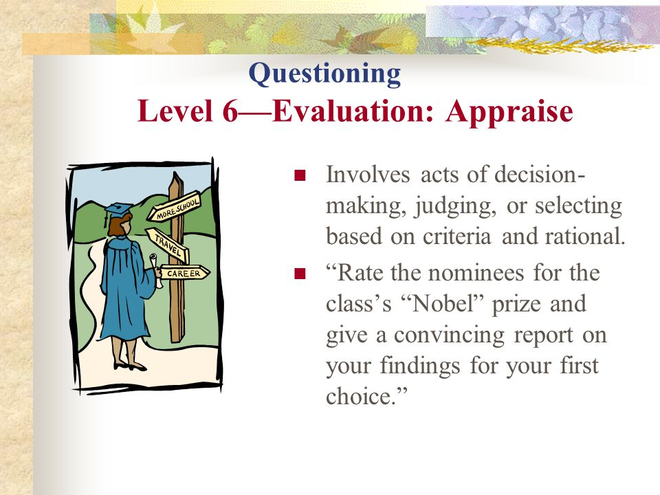 Questioning Level 6—Evaluation: Appraise