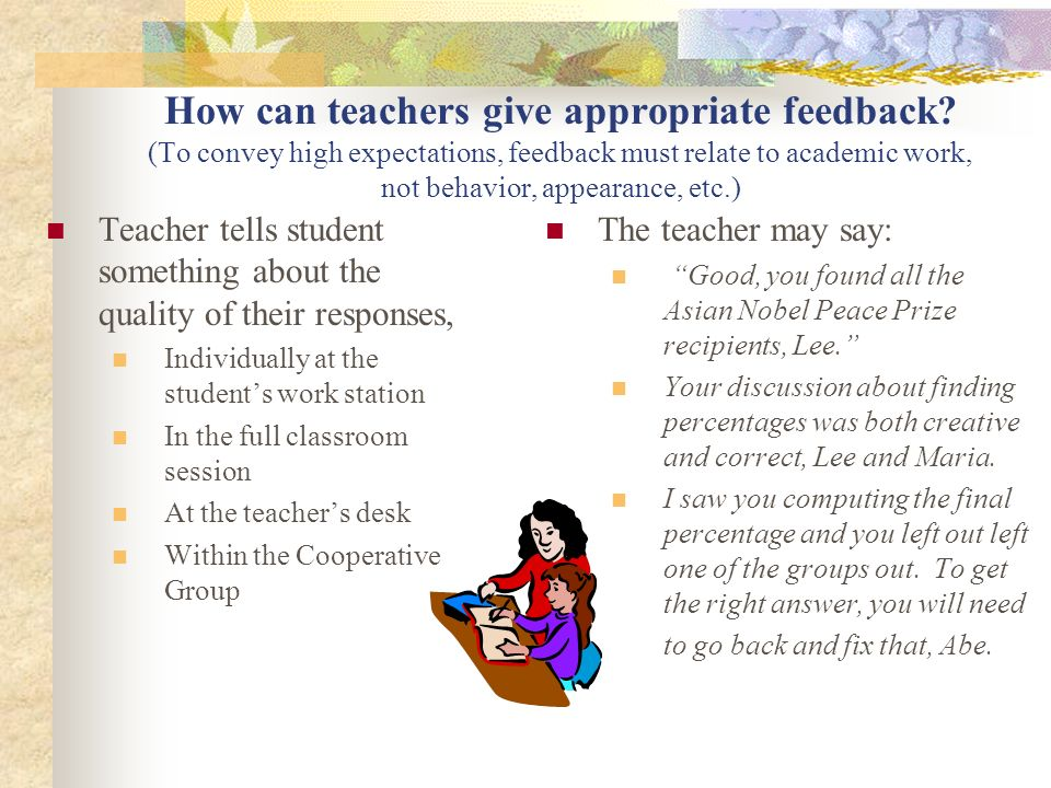 How can teachers give appropriate feedback