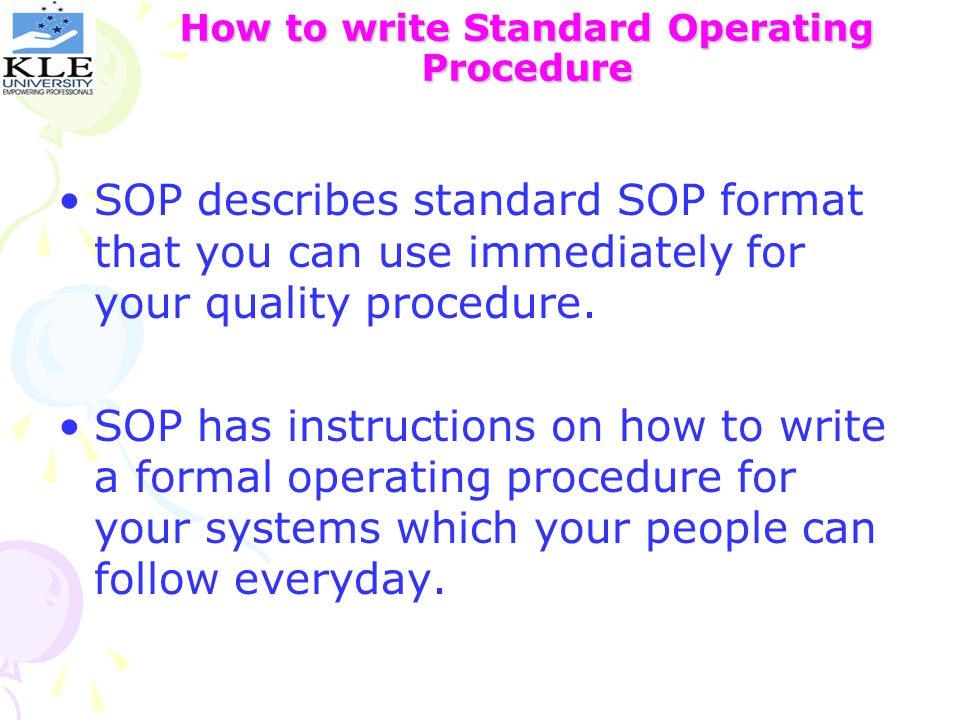 how to write standard operating procedures Sweetprocess makes documenting standard operating procedures (sops) easy and efficient share procedures with a team and more try it free.