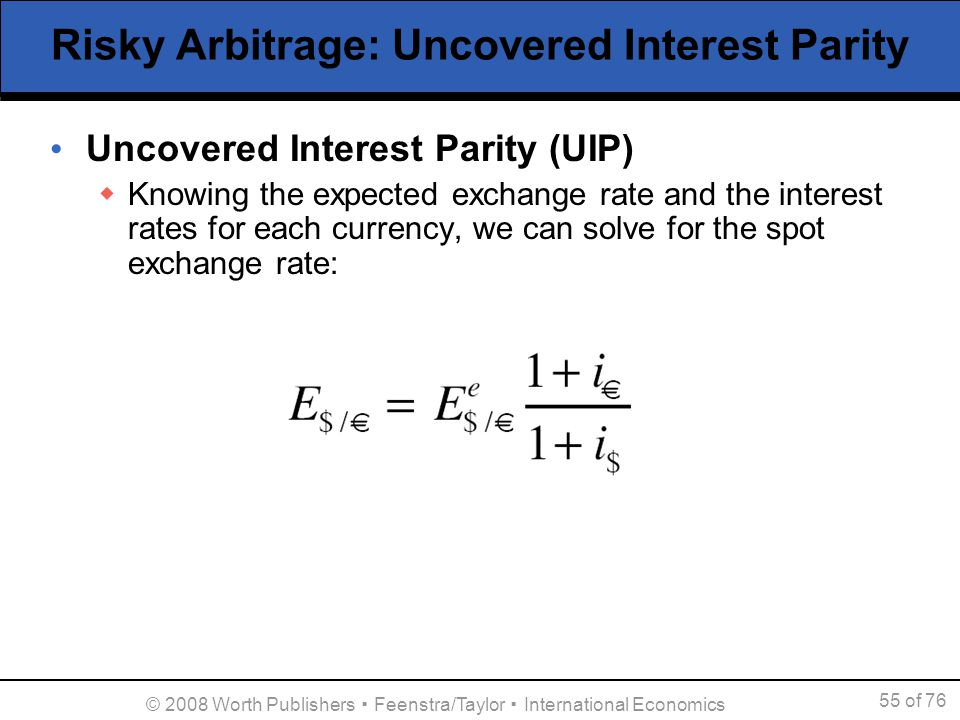 interest rate parity We find that deviations from the covered interest rate parity condition (cip) imply large, persistent, and systematic arbitrage opportunities in one of the larg.