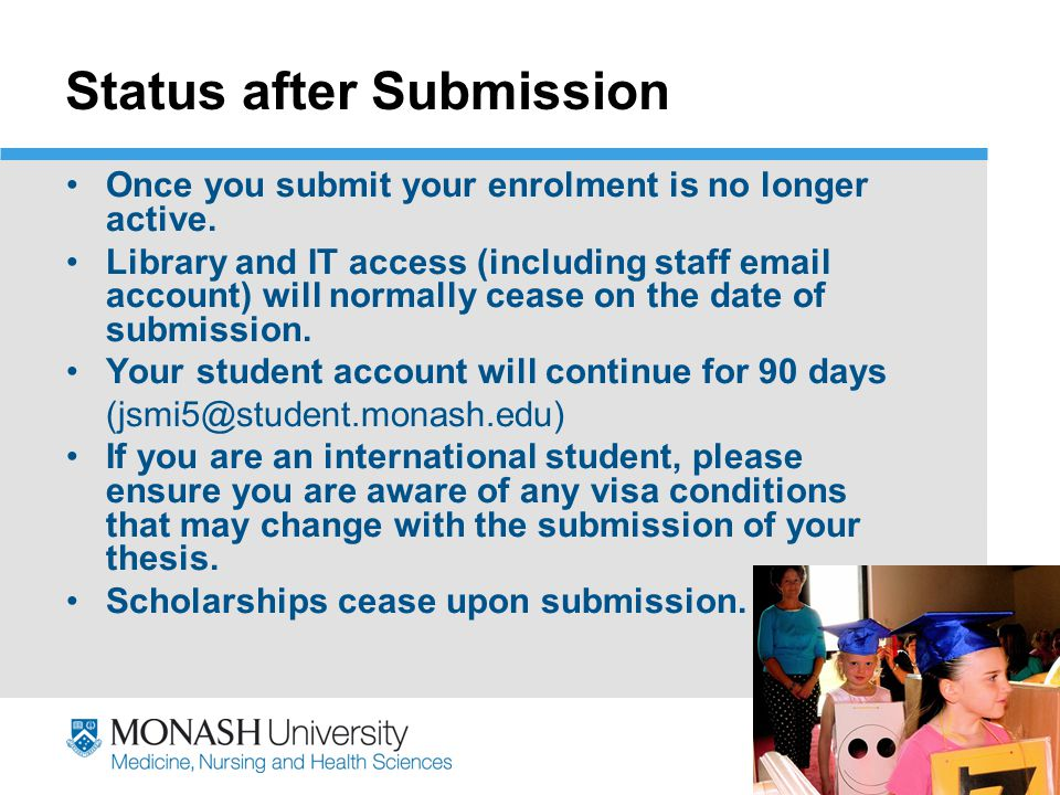 thesis submission visa