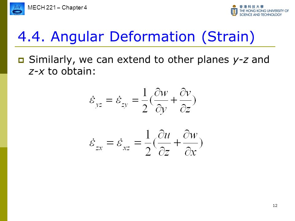4.4. Angular Deformation (Strain)