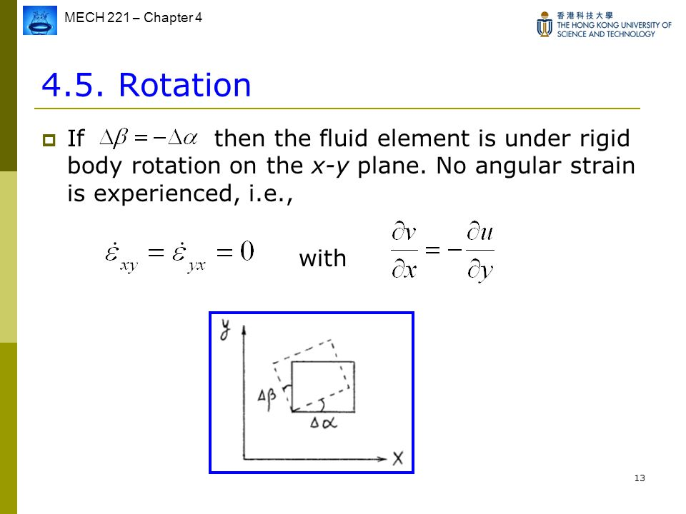 4.5. Rotation If then the fluid element is under rigid body rotation on the x-y plane. No angular strain is experienced, i.e.,