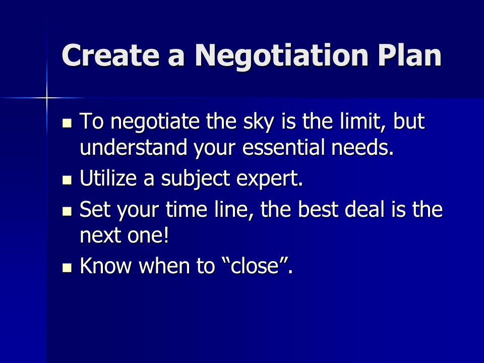 Create a Negotiation Plan