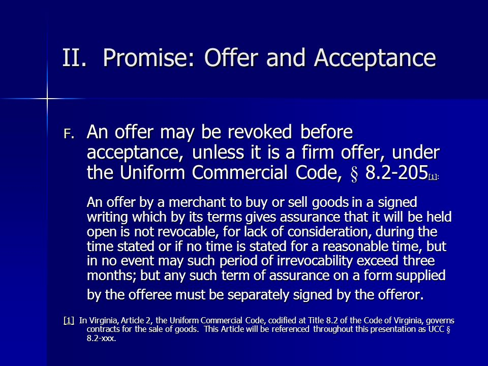 II. Promise: Offer and Acceptance