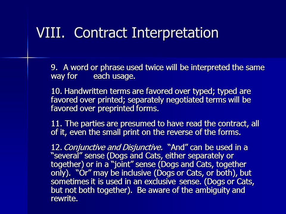 VIII. Contract Interpretation