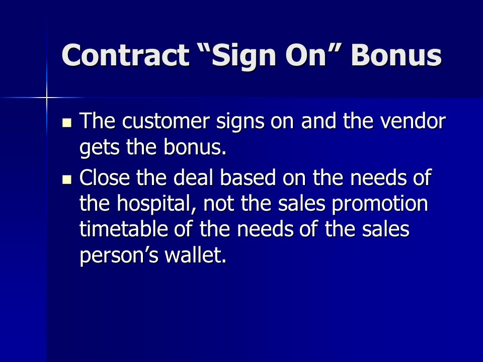 Contract Sign On Bonus