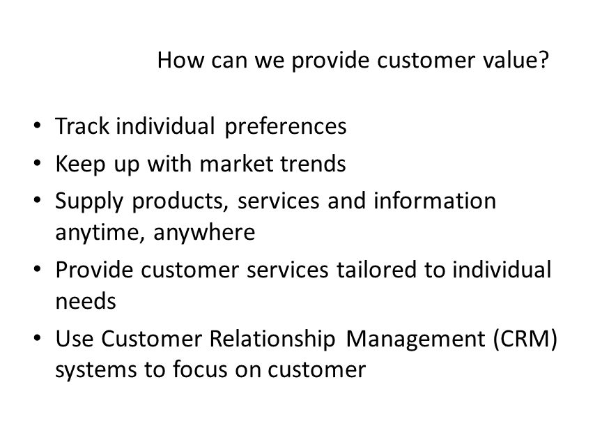 how to provide value to customers