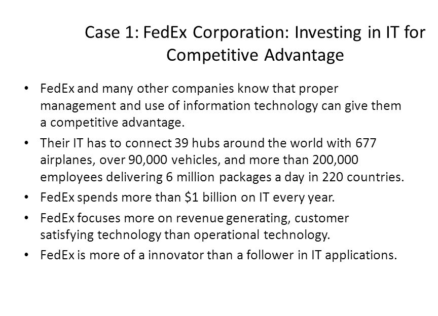 case 1 1 fedex Case 1 sales force integration at fedex corporation: a case presentation example for marketing 458 sales management team members: doug vorhies – a free powerpoint ppt presentation (displayed.