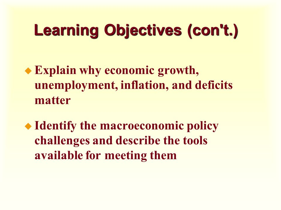 Learning Objectives (con t.)