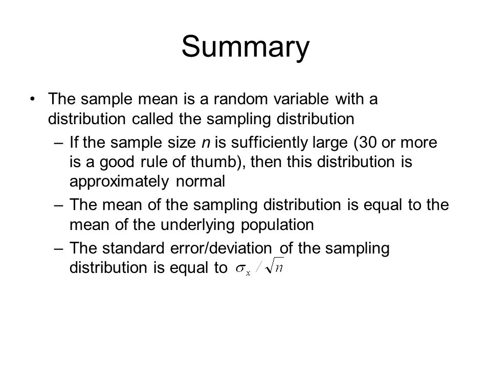 how to determine sample distribution of a mean