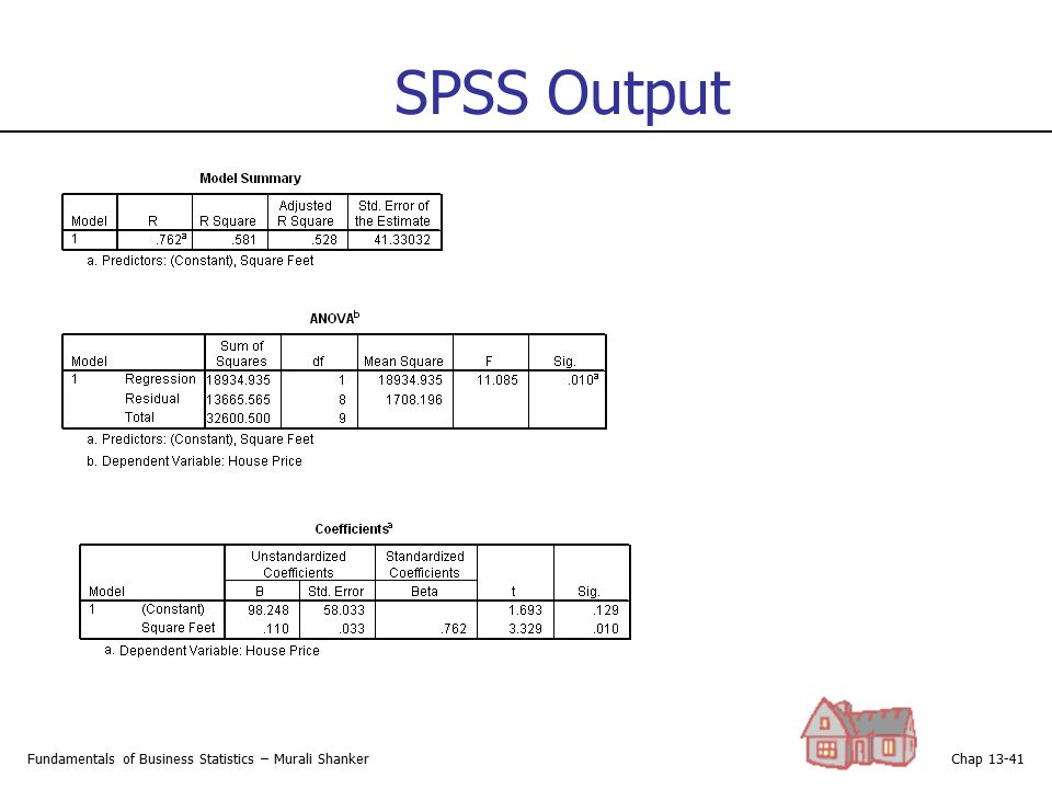 SPSS Output Fundamentals of Business Statistics – Murali Shanker
