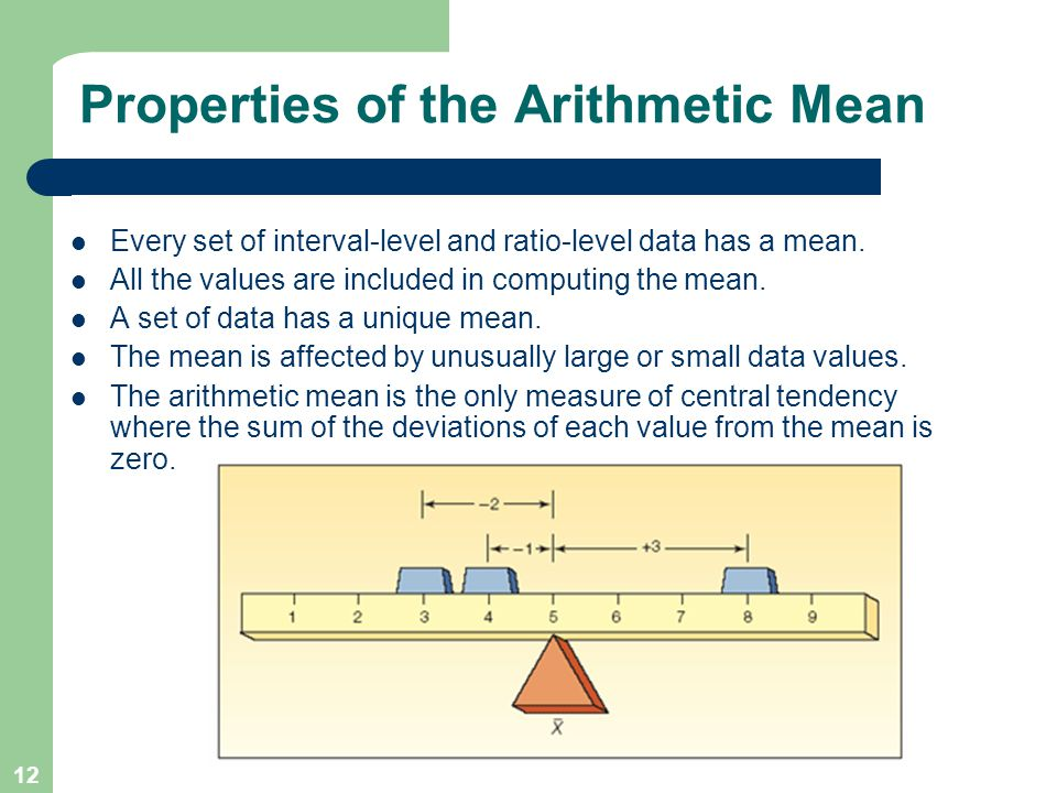 arithmetic mean and data The arithmetic mean (or mean or average) is the most commonly used and readily understood measure of central tendency in a data set in statistics, the term average refers to any of the measures of central tendency.