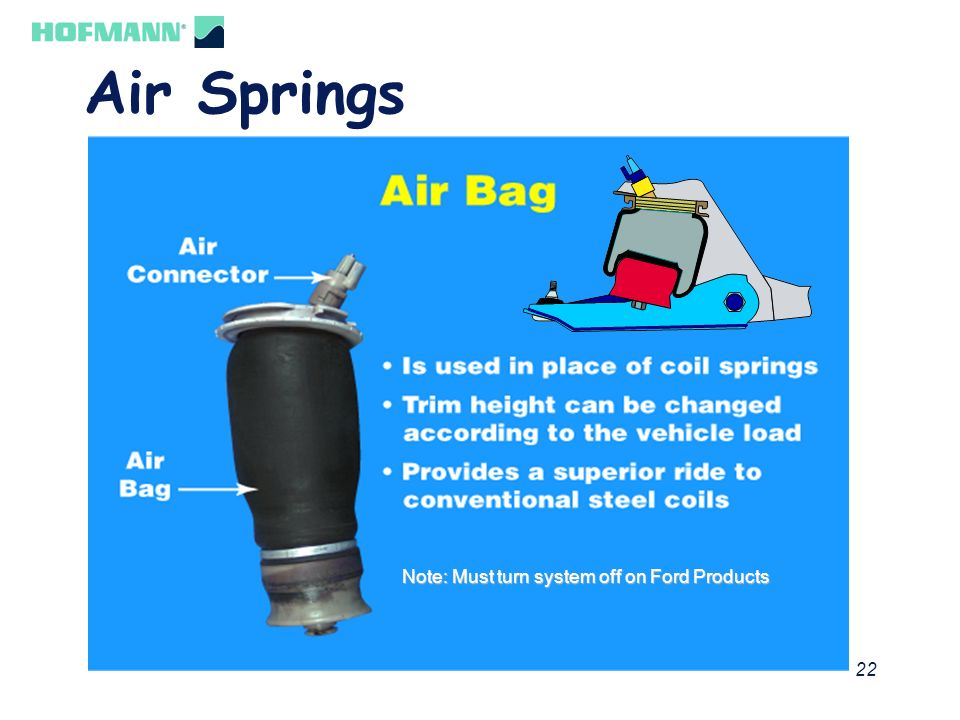Air Springs Note: Must turn system off on Ford Products