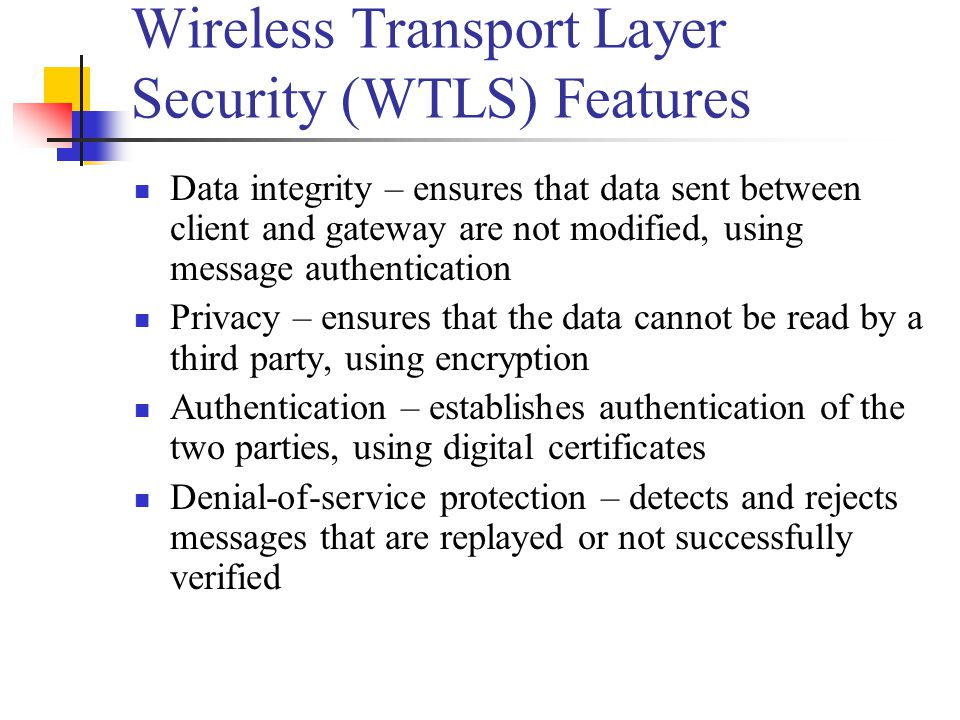 Wireless Transport Layer Security (WTLS) Features