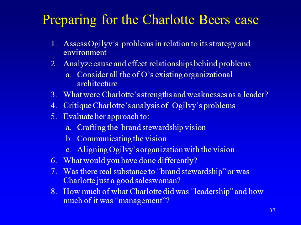Charlotte Beers at Ogilvy & Mather Worldwide Harvard Case Solution & Analysis