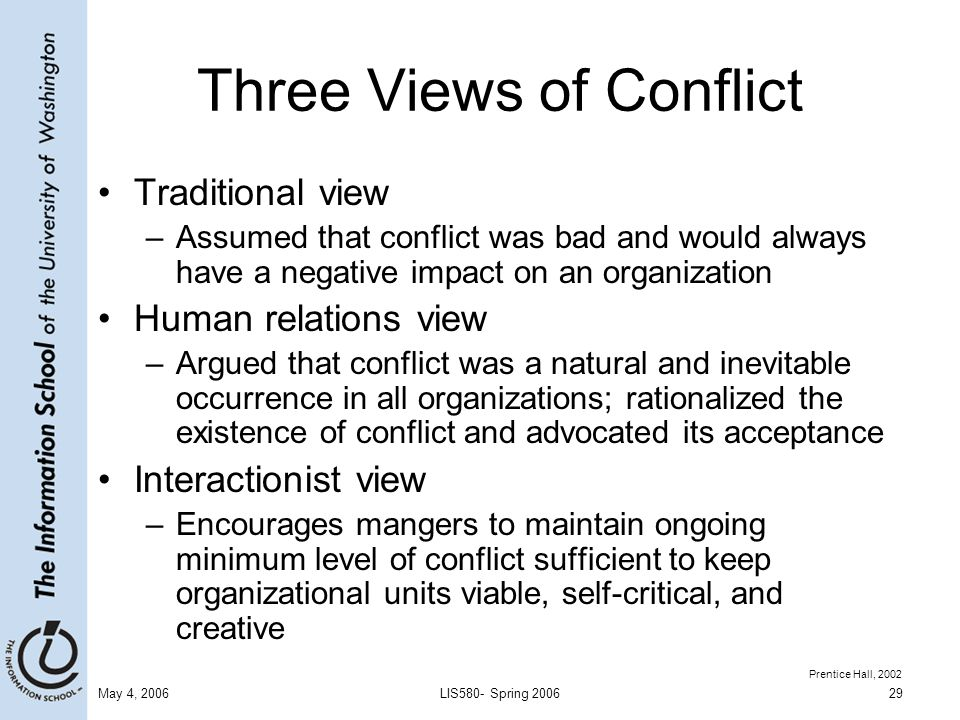 the three views of conflict how The explanation of conflict in hobbes's the most mature and systematic presentation of his views we find three principal causes of quarrell first.