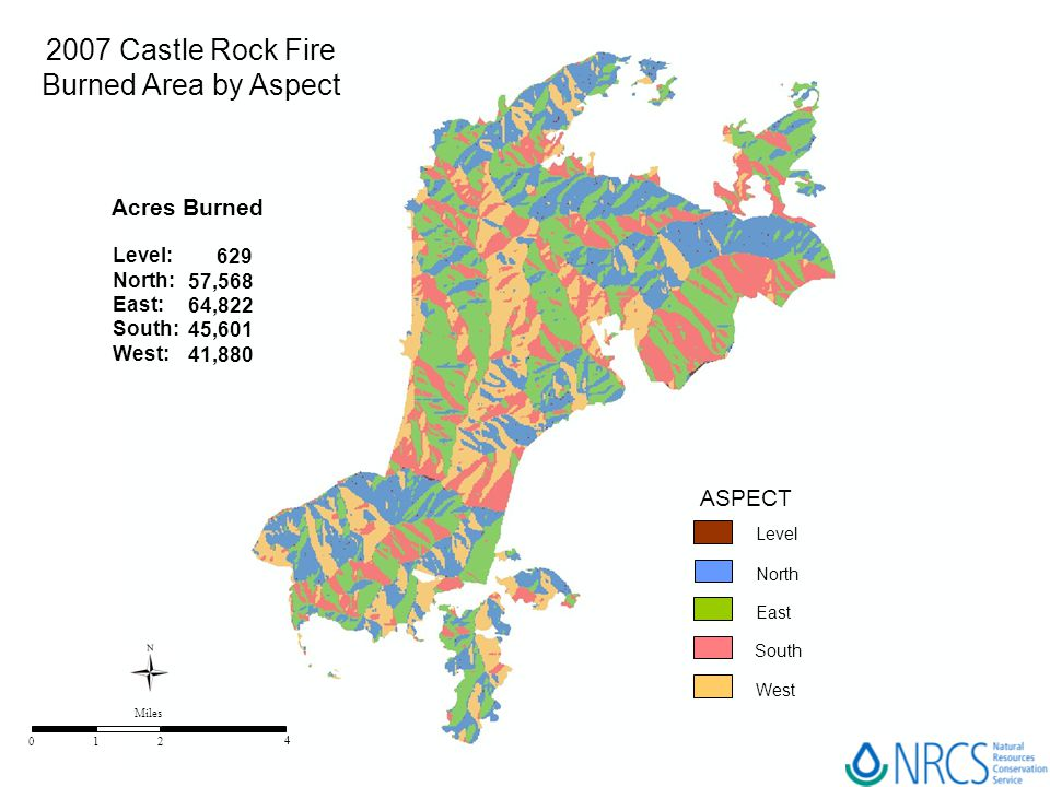 2007 Castle Rock Fire Burned Area by Aspect Acres Burned ASPECT Level: