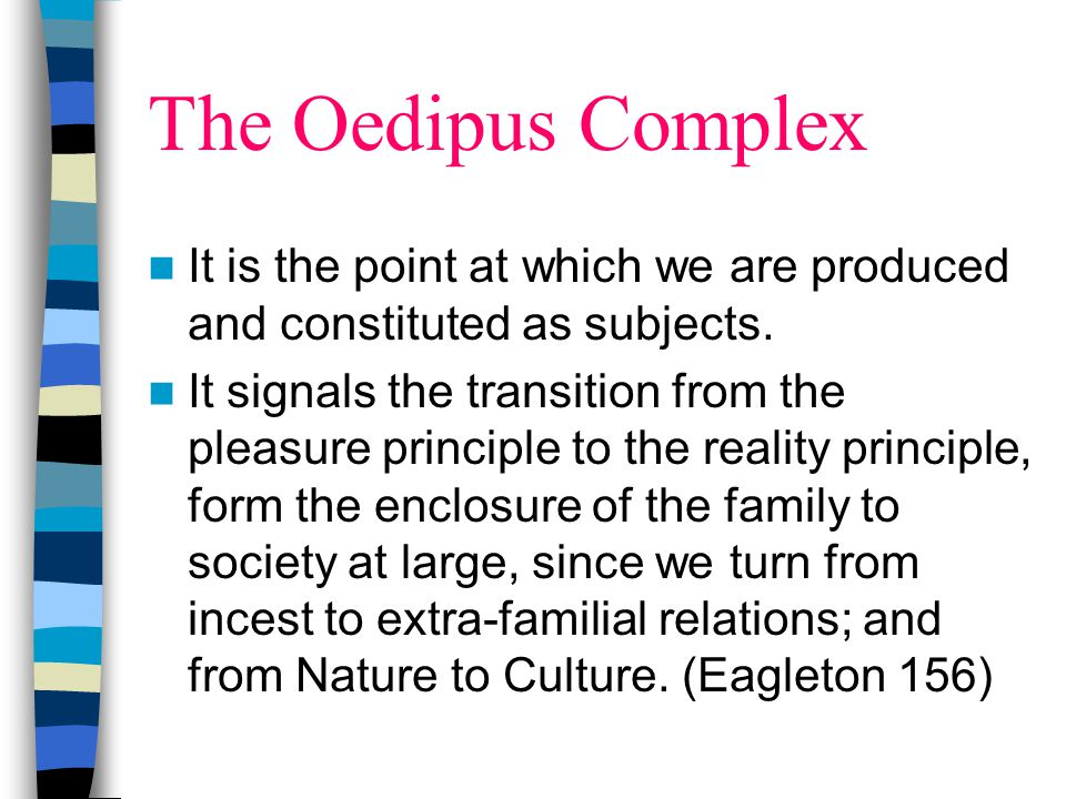 The Oedipus Complex It is the point at which we are produced and constituted as subjects.