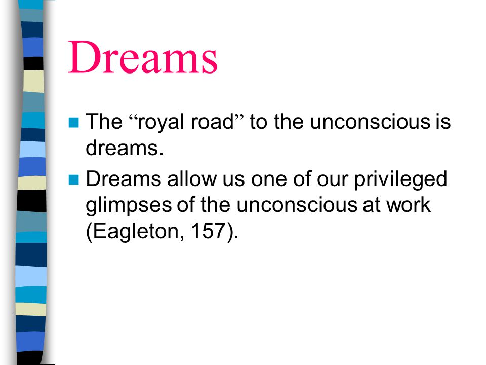 Dreams The royal road to the unconscious is dreams.