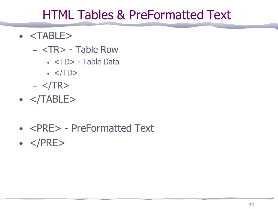 Internet intranet cis ppt download for Html table tr td