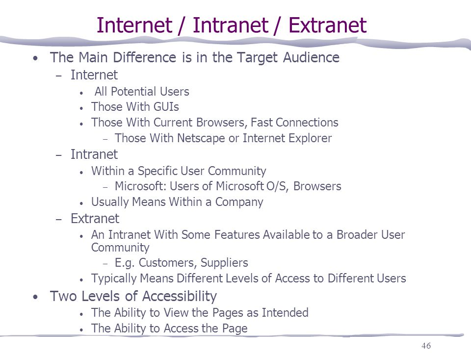 difference between internet intranet extranet What is the difference between a lan and  what's the difference between intranet, extranet and  what's the difference between intranet, extranet and internet 22.