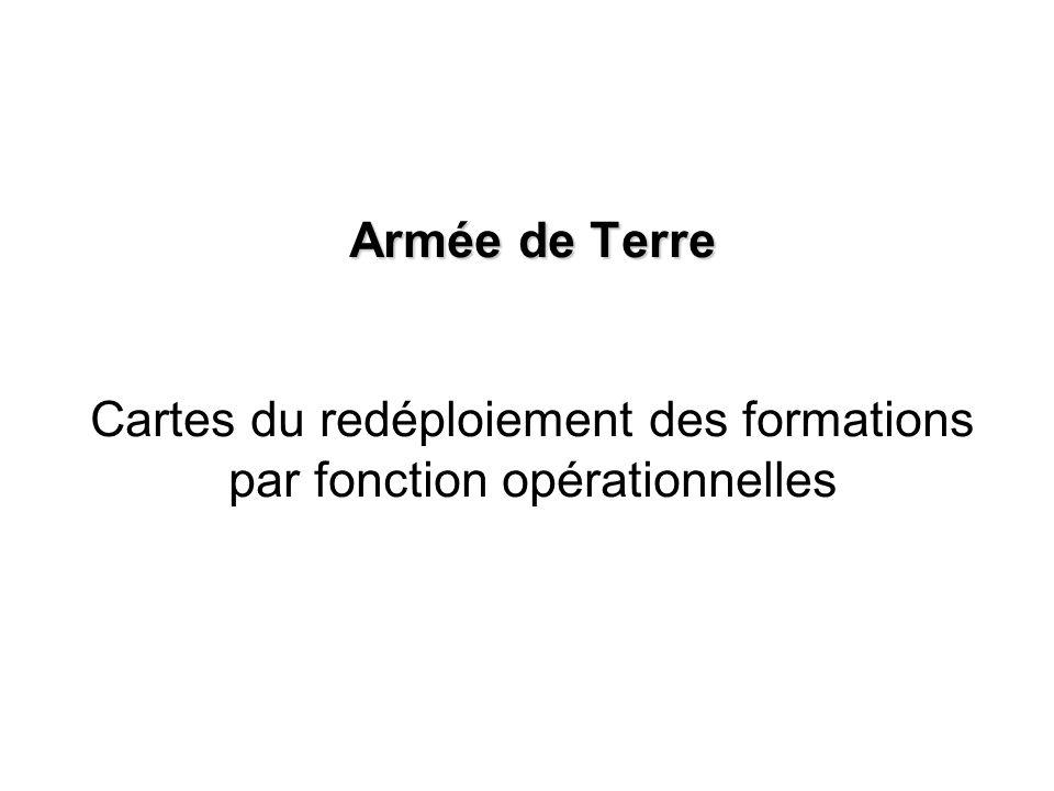 Armée de Terre Cartes du redéploiement des formations par fonction opérationnelles