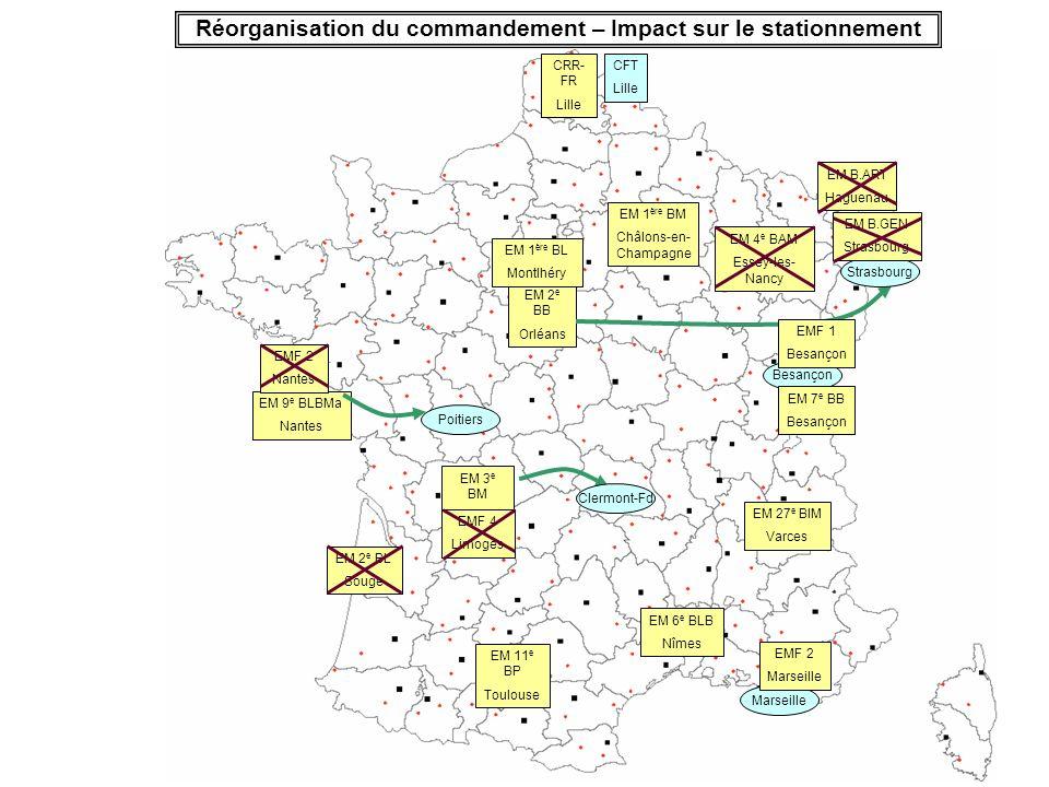 Réorganisation du commandement – Impact sur le stationnement